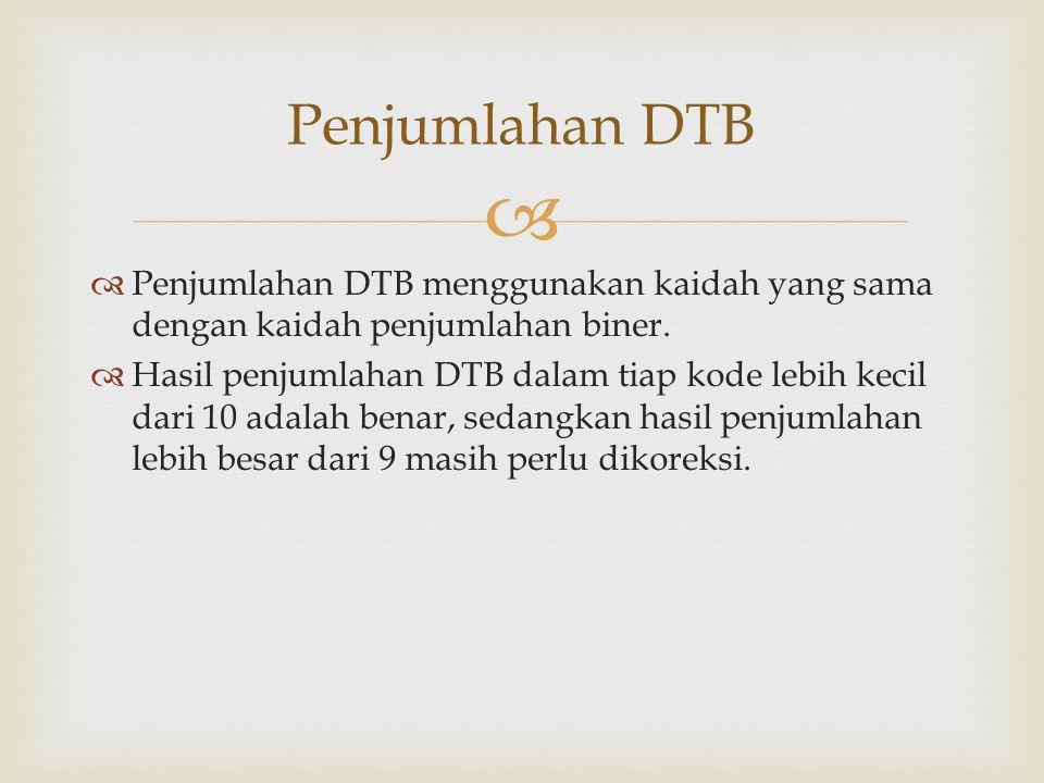   Penjumlahan DTB menggunakan kaidah yang sama dengan kaidah penjumlahan biner.  Hasil penjumlahan DTB dalam tiap kode lebih kecil dari 10 adalah b