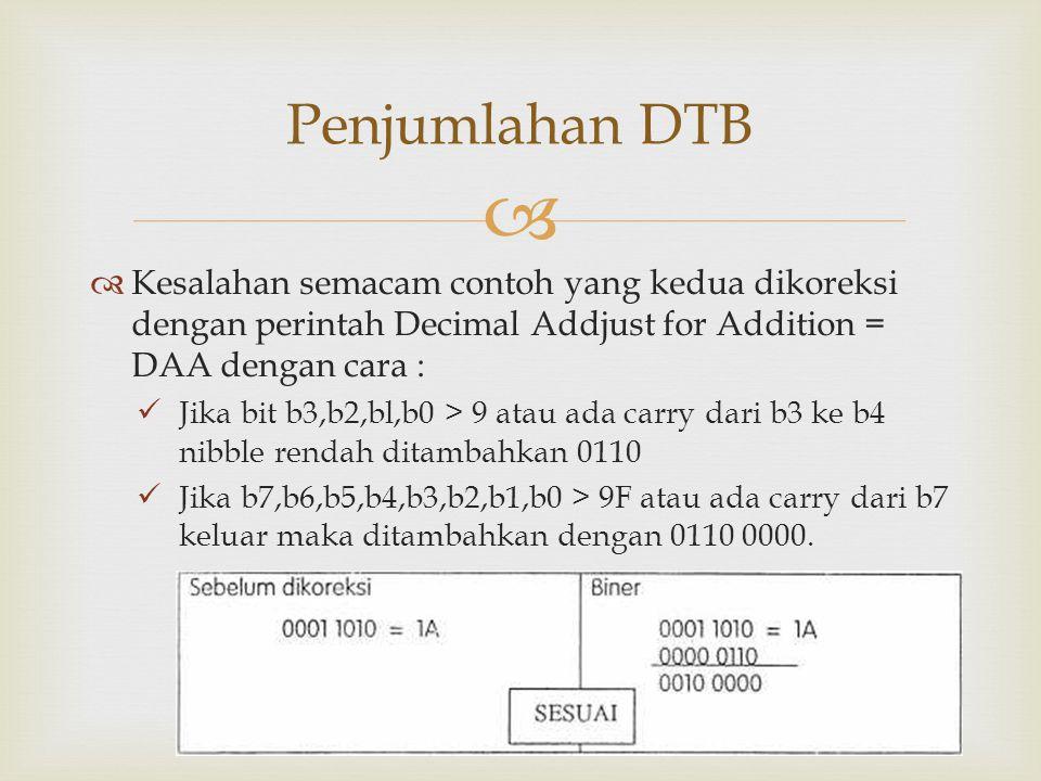   Kesalahan semacam contoh yang kedua dikoreksi dengan perintah Decimal Addjust for Addition = DAA dengan cara : Jika bit b3,b2,bl,b0 > 9 atau ada c