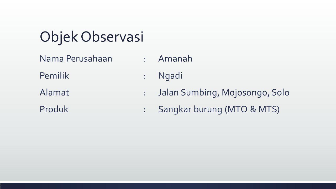 Objek Observasi Nama Perusahaan:Amanah Pemilik:Ngadi Alamat:Jalan Sumbing, Mojosongo, Solo Produk:Sangkar burung (MTO & MTS)