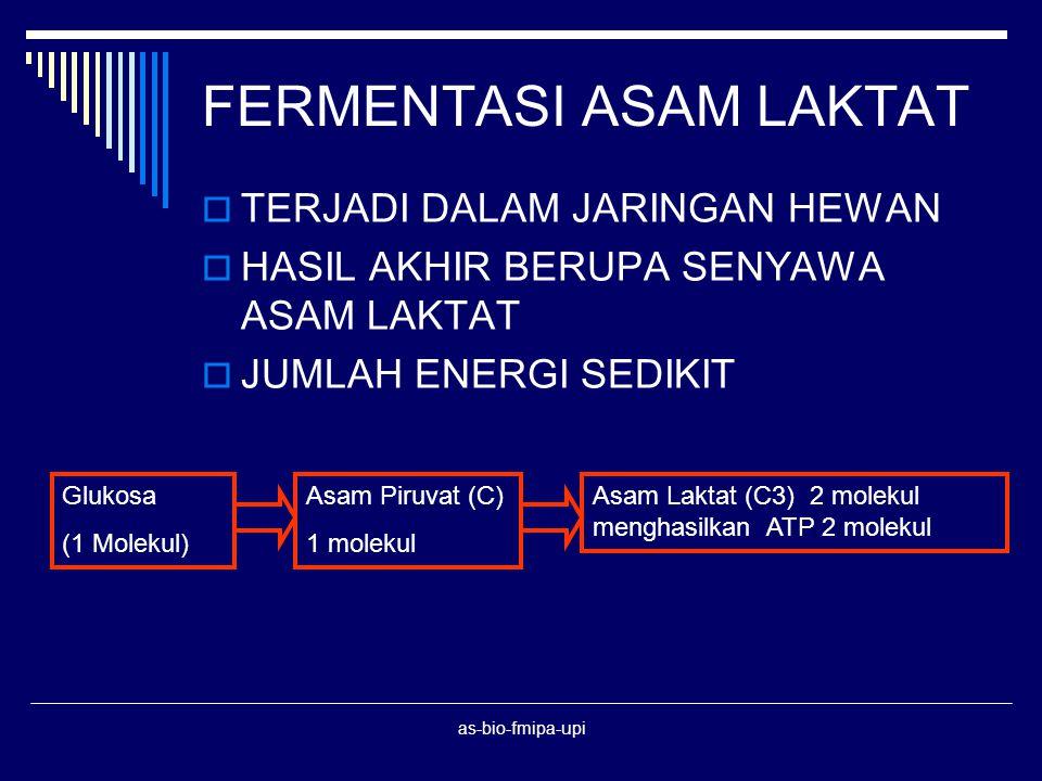 as-bio-fmipa-upi Glucose 2 Pyruvate 2 ATP No Oxygen Oxygen Aerobic respiration Fermentation Alcohol + CO2 yeast, plants) Alcohol + CO2 (yeast, plants) Lactate (Animals) 34 more ATP