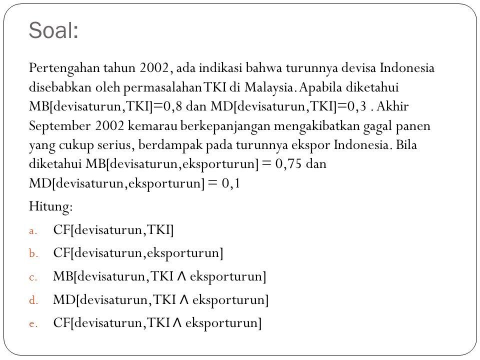 Soal: Pertengahan tahun 2002, ada indikasi bahwa turunnya devisa Indonesia disebabkan oleh permasalahan TKI di Malaysia. Apabila diketahui MB[devisatu