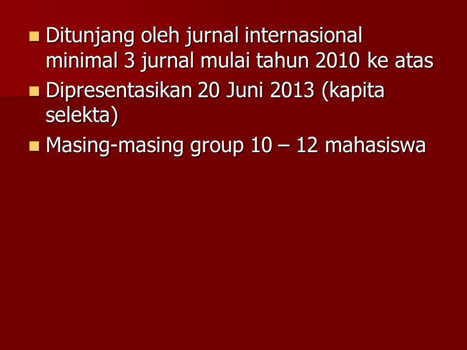 Ditunjang oleh jurnal internasional minimal 3 jurnal mulai tahun 2010 ke atas Ditunjang oleh jurnal internasional minimal 3 jurnal mulai tahun 2010 ke