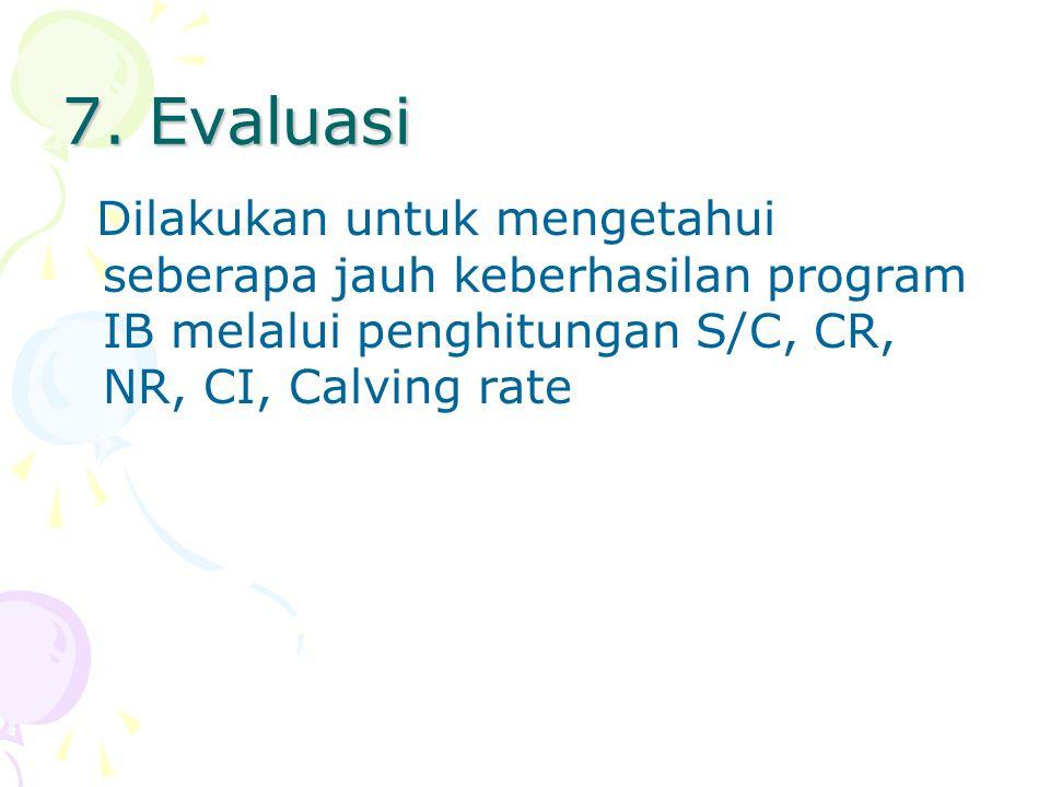 7. Evaluasi Dilakukan untuk mengetahui seberapa jauh keberhasilan program IB melalui penghitungan S/C, CR, NR, CI, Calving rate