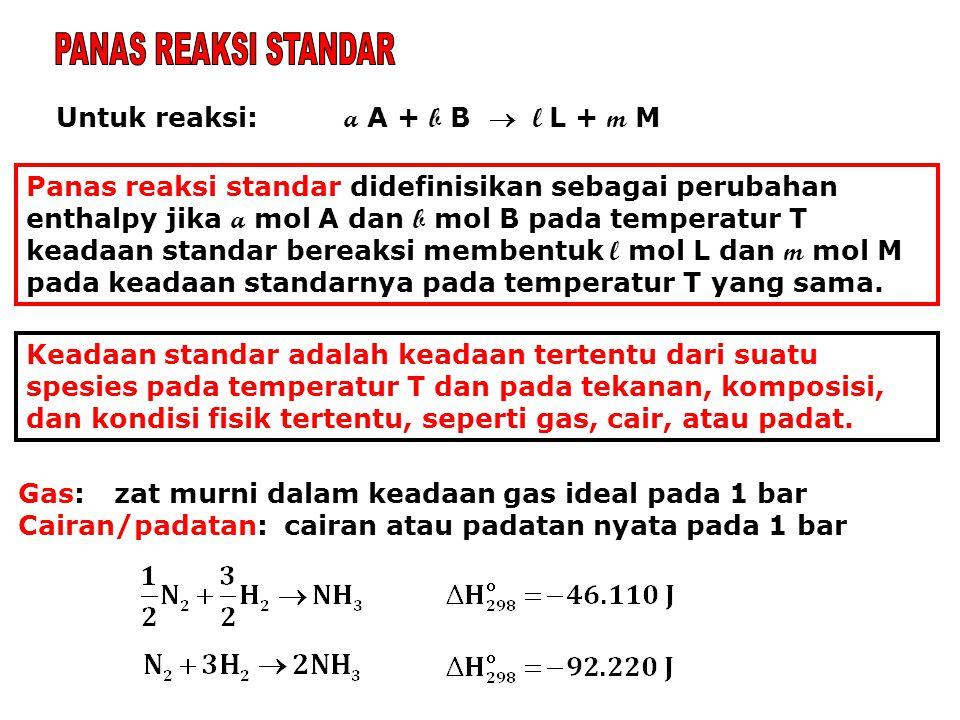 Untuk reaksi: a A + b B  l L + m M Panas reaksi standar didefinisikan sebagai perubahan enthalpy jika a mol A dan b mol B pada temperatur T keadaan s