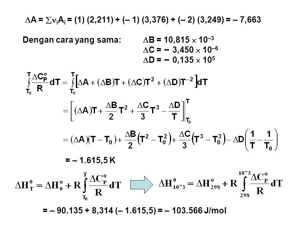  A =  i A i = (1) (2,211) + (– 1) (3,376) + (– 2) (3,249) = – 7,663 Dengan cara yang sama:  B = 10,815  10 –3  C = – 3,450  10 –6  D = – 0,135