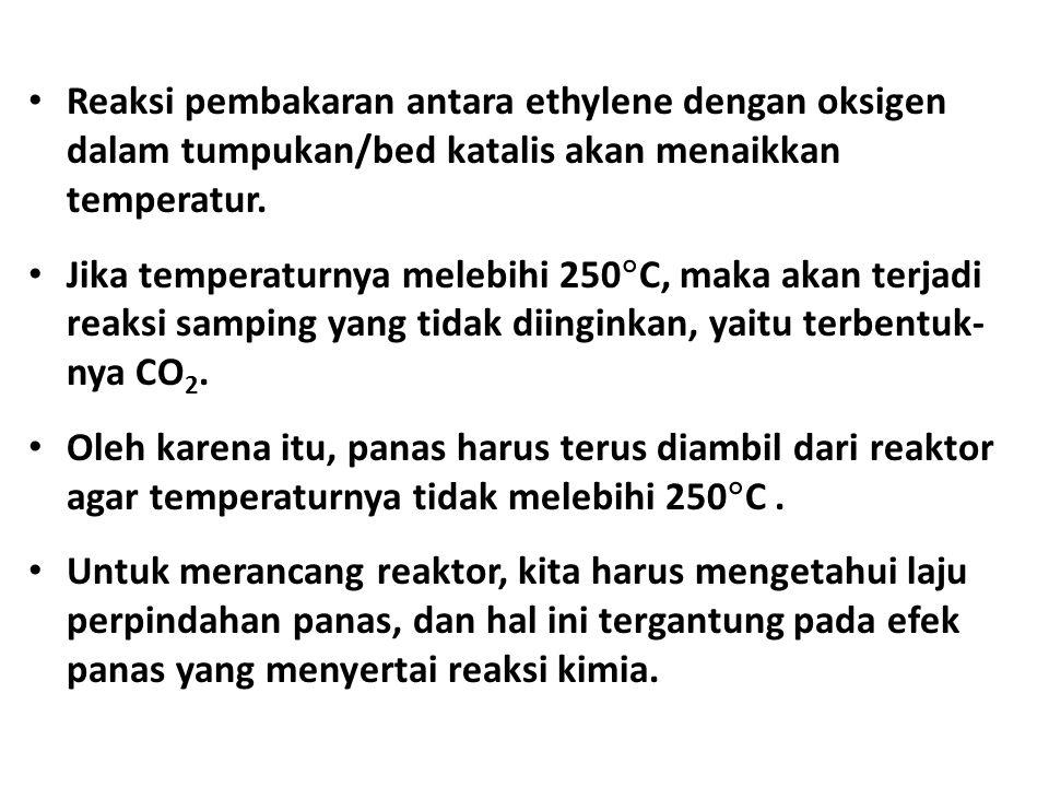 Reaksi pembakaran antara ethylene dengan oksigen dalam tumpukan/bed katalis akan menaikkan temperatur. Jika temperaturnya melebihi 250  C, maka akan