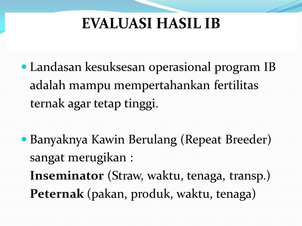 EVALUASI HASIL IB Landasan kesuksesan operasional program IB adalah mampu mempertahankan fertilitas ternak agar tetap tinggi. Banyaknya Kawin Berulang