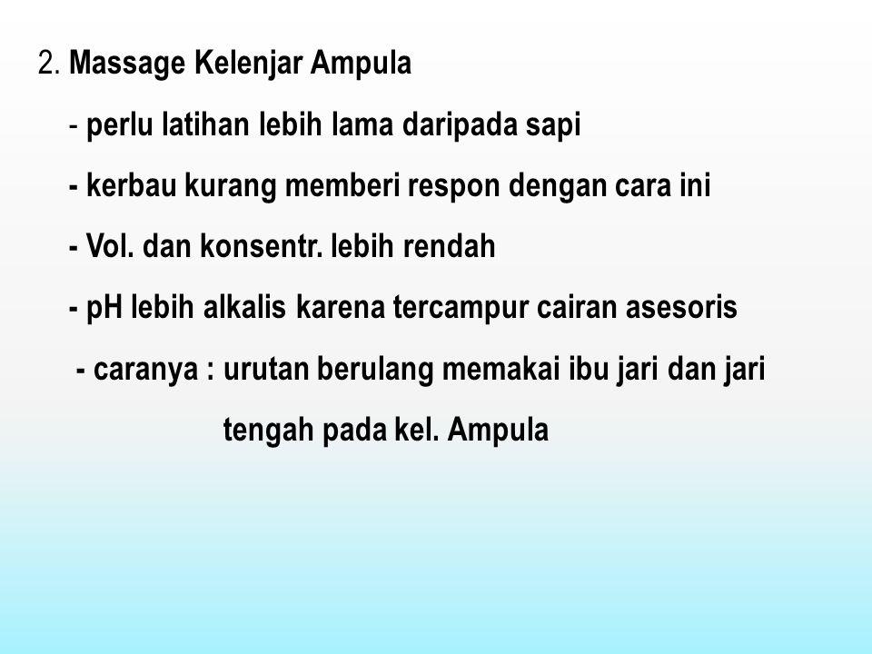 2. Massage Kelenjar Ampula - perlu latihan lebih lama daripada sapi - kerbau kurang memberi respon dengan cara ini - Vol. dan konsentr. lebih rendah -