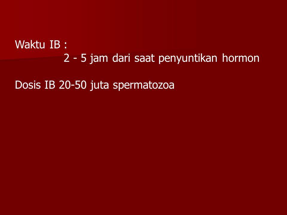 Waktu IB : 2 - 5 jam dari saat penyuntikan hormon Dosis IB 20-50 juta spermatozoa