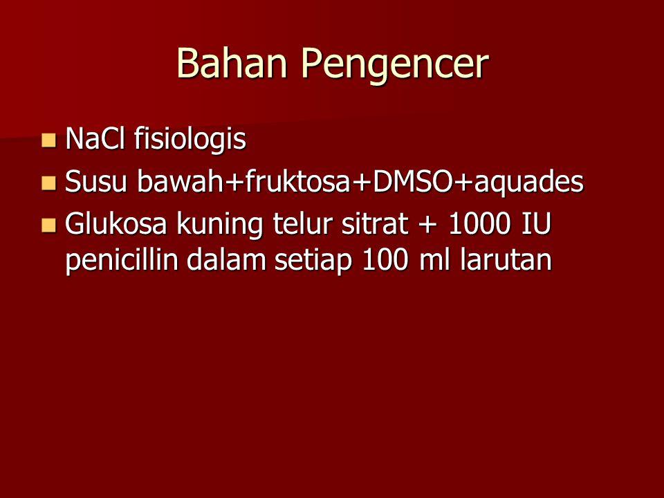 Bahan Pengencer NaCl fisiologis NaCl fisiologis Susu bawah+fruktosa+DMSO+aquades Susu bawah+fruktosa+DMSO+aquades Glukosa kuning telur sitrat + 1000 I