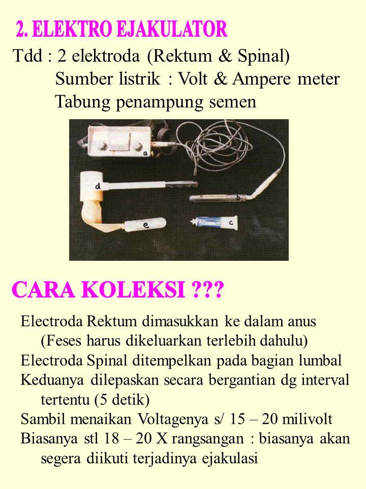 Tdd : 2 elektroda (Rektum & Spinal) Sumber listrik : Volt & Ampere meter Tabung penampung semen Electroda Rektum dimasukkan ke dalam anus (Feses harus