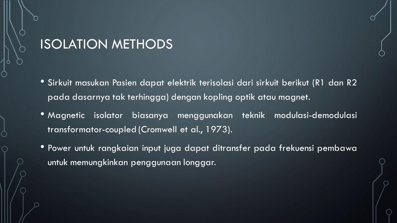 ISOLATION METHODS Sirkuit masukan Pasien dapat elektrik terisolasi dari sirkuit berikut (R1 dan R2 pada dasarnya tak terhingga) dengan kopling optik a