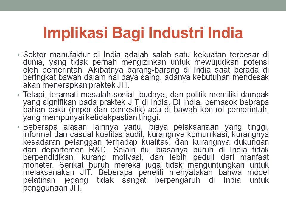 Implikasi Bagi Industri India Sektor manufaktur di India adalah salah satu kekuatan terbesar di dunia, yang tidak pernah mengizinkan untuk mewujudkan