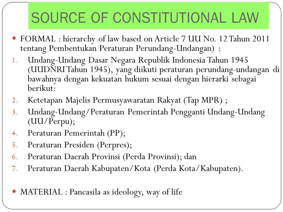 SOURCE OF CONSTITUTIONAL LAW FORMAL : hierarchy of law based on Article 7 UU No. 12 Tahun 2011 tentang Pembentukan Peraturan Perundang-Undangan) : 1.