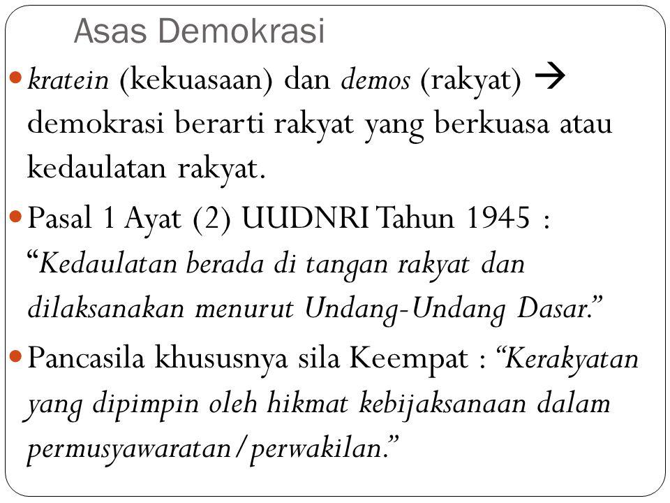 Asas Demokrasi kratein (kekuasaan) dan demos (rakyat)  demokrasi berarti rakyat yang berkuasa atau kedaulatan rakyat. Pasal 1 Ayat (2) UUDNRI Tahun 1