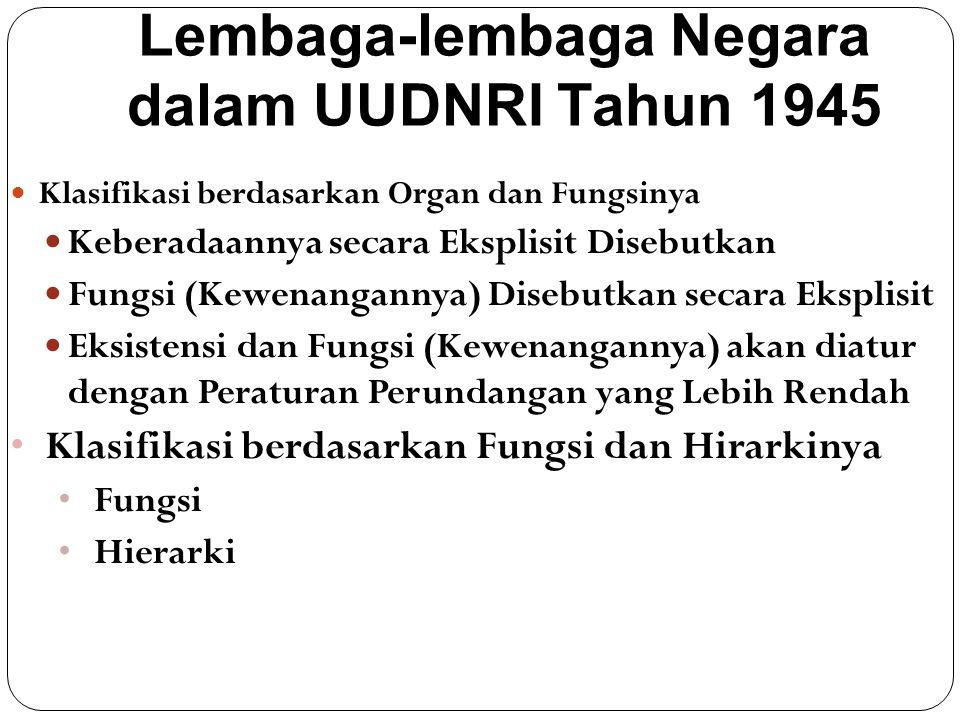 Lembaga-lembaga Negara dalam UUDNRI Tahun 1945 Klasifikasi berdasarkan Organ dan Fungsinya Keberadaannya secara Eksplisit Disebutkan Fungsi (Kewenanga