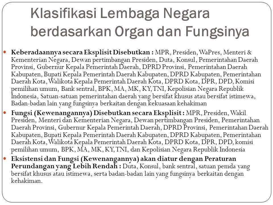 Klasifikasi Lembaga Negara berdasarkan Organ dan Fungsinya Keberadaannya secara Eksplisit Disebutkan : MPR, Presiden, WaPres, Menteri & Kementerian Ne