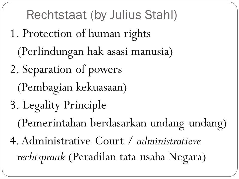 Rechtstaat (by Julius Stahl) 1.Protection of human rights (Perlindungan hak asasi manusia) 2.