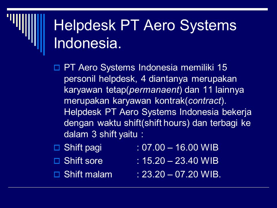 Helpdesk PT Aero Systems Indonesia.