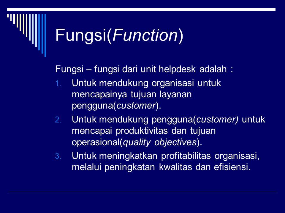 Fungsi(Function) Fungsi – fungsi dari unit helpdesk adalah : 1.