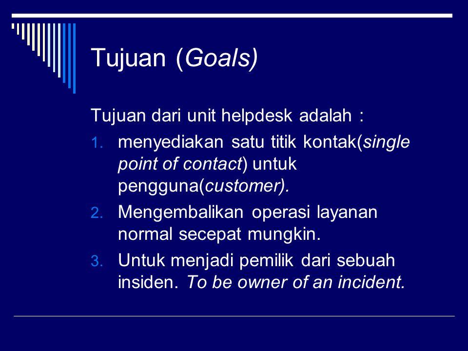 Tujuan (Goals) Tujuan dari unit helpdesk adalah : 1.