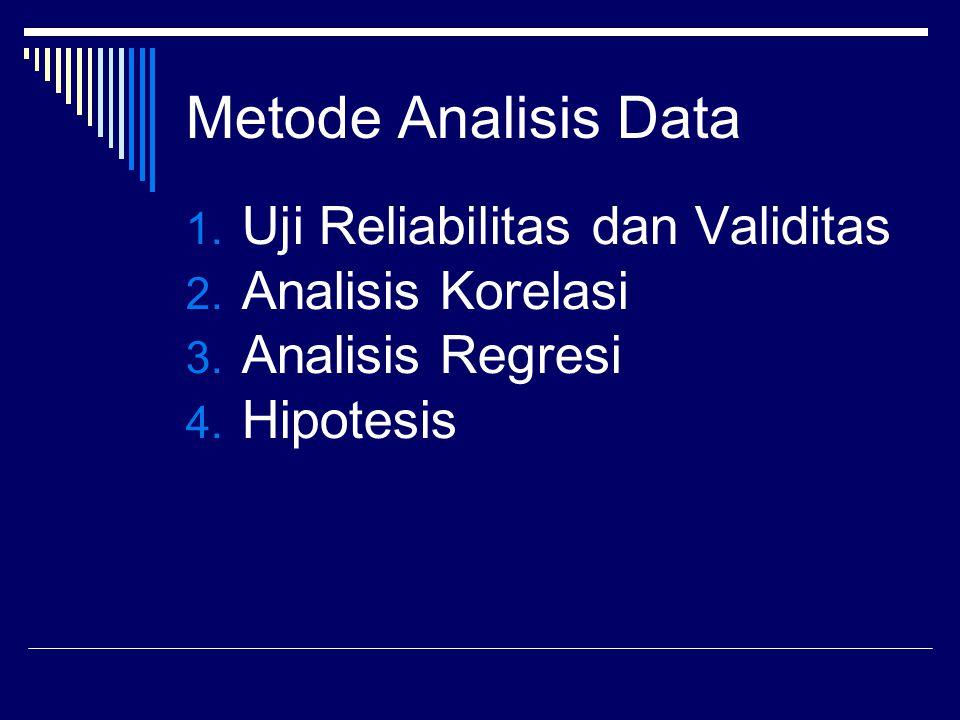 Metode Analisis Data 1. Uji Reliabilitas dan Validitas 2.