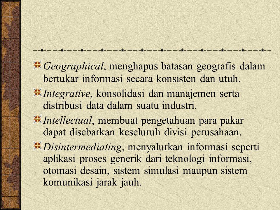 Geographical, menghapus batasan geografis dalam bertukar informasi secara konsisten dan utuh. Integrative, konsolidasi dan manajemen serta distribusi