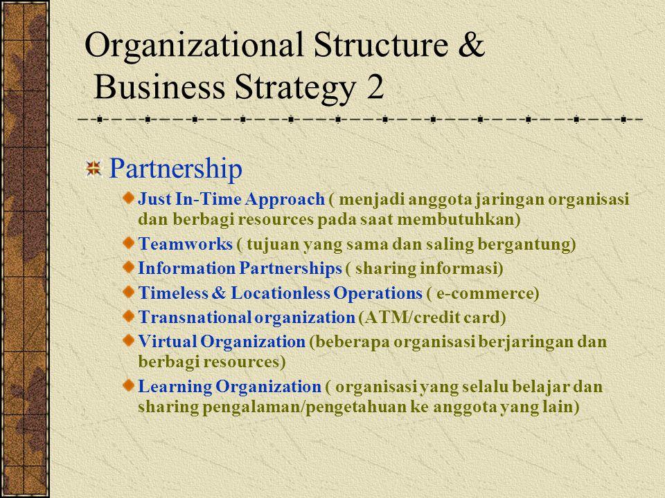 Organizational Structure & Business Strategy 2 Partnership Just In-Time Approach ( menjadi anggota jaringan organisasi dan berbagi resources pada saat