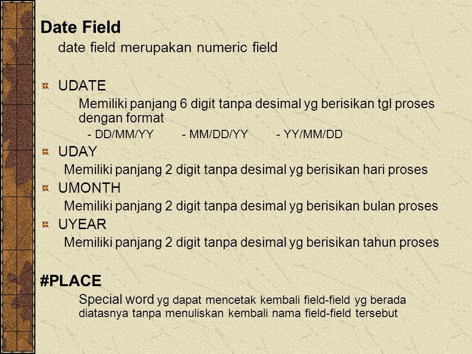 Date Field date field merupakan numeric field UDATE Memiliki panjang 6 digit tanpa desimal yg berisikan tgl proses dengan format - DD/MM/YY- MM/DD/YY-