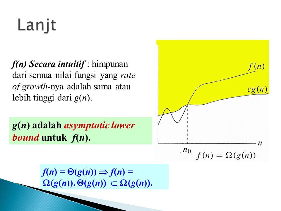 g(n) adalah asymptotic lower bound untuk f(n). f(n) =  (g(n))  f(n) =  (g(n)).  (g(n))   (g(n)). f(n) Secara intuitif : himpunan dari semua nila