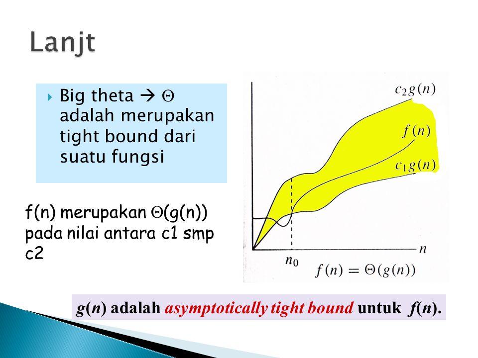  Big theta   adalah merupakan tight bound dari suatu fungsi f(n) merupakan  (g(n)) pada nilai antara c1 smp c2 g(n) adalah asymptotically tight bo