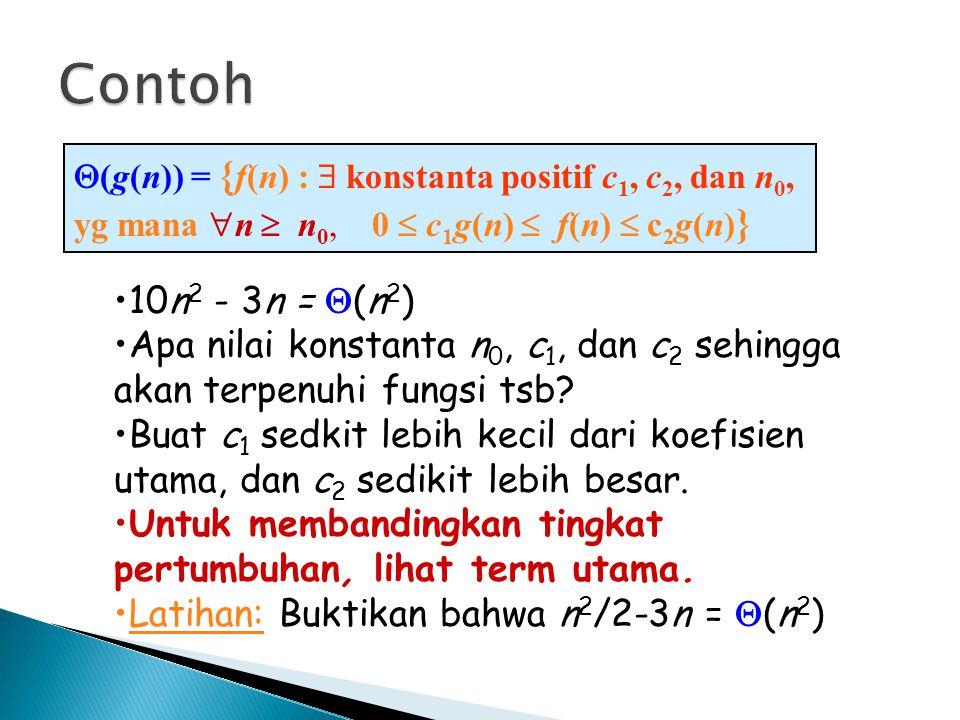  (g(n)) = { f(n) :  konstanta positif c 1, c 2, dan n 0, yg mana  n  n 0, 0  c 1 g(n)  f(n)  c 2 g(n) } 10n 2 - 3n =  (n 2 ) Apa nilai konstan