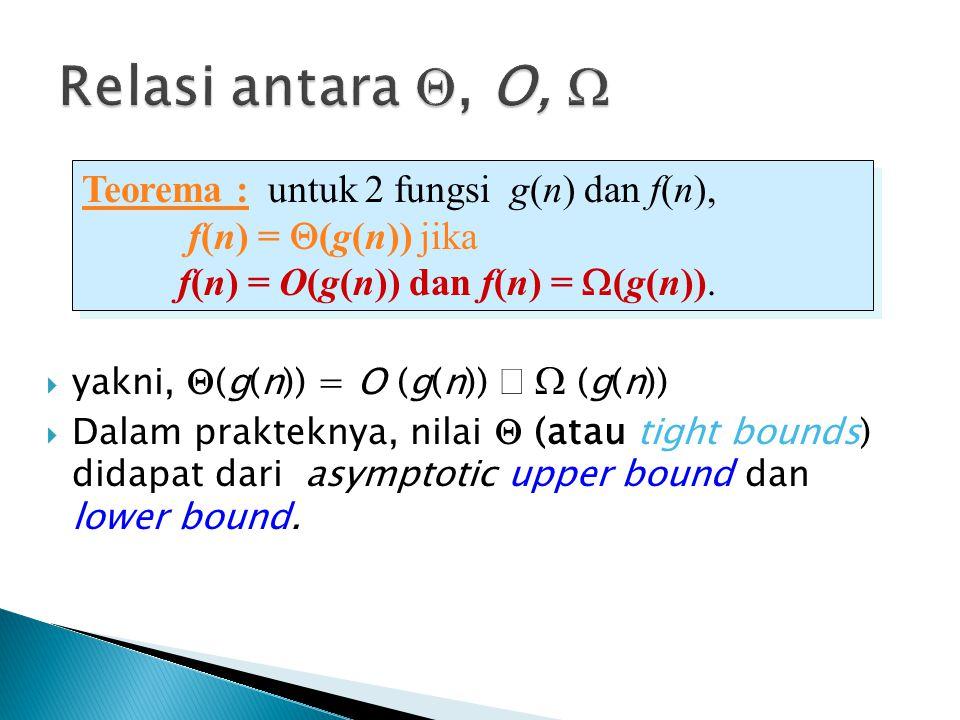  yakni,  (g(n)) = O (g(n))   (g(n))  Dalam prakteknya, nilai  (atau tight bounds) didapat dari asymptotic upper bound dan lower bound. Teorema :