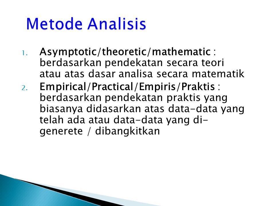 1. Asymptotic/theoretic/mathematic : berdasarkan pendekatan secara teori atau atas dasar analisa secara matematik 2. Empirical/Practical/Empiris/Prakt