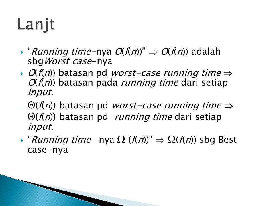 """ """"Running time-nya O(f(n))""""  O(f(n)) adalah sbgWorst case-nya  O(f(n)) batasan pd worst-case running time  O(f(n)) batasan pada running time dari"""