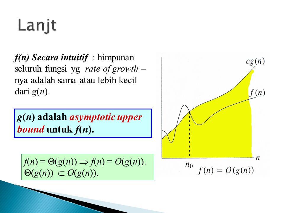 f(n) Secara intuitif : himpunan seluruh fungsi yg rate of growth – nya adalah sama atau lebih kecil dari g(n). g(n) adalah asymptotic upper bound untu