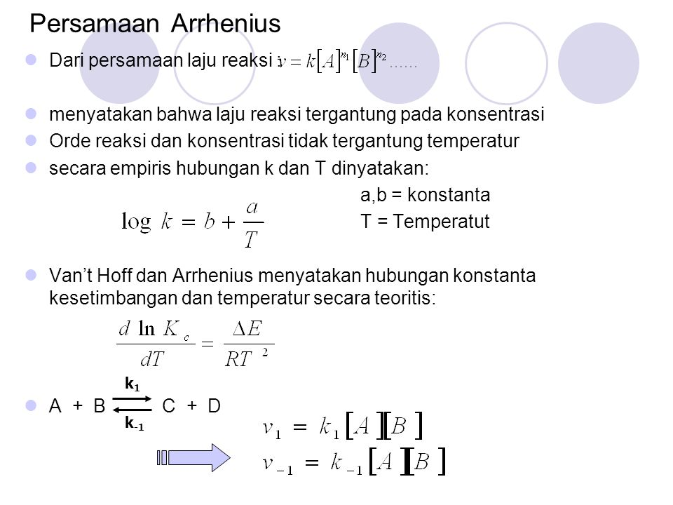 Pada kesetimbangan: k 1 [A] [B] = k -1 [A] [B] konstanta kesetimbangan: I=Konstanta integrasi Arrhenius menemukan bahwa I= 0, sehingga: E* = Energi aktivasi