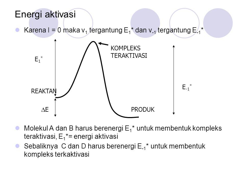 Energi aktivasi Karena I = 0 maka v 1 tergantung E 1 * dan v -1 tergantung E -1 * Molekul A dan B harus berenergi E 1 * untuk membentuk kompleks terak