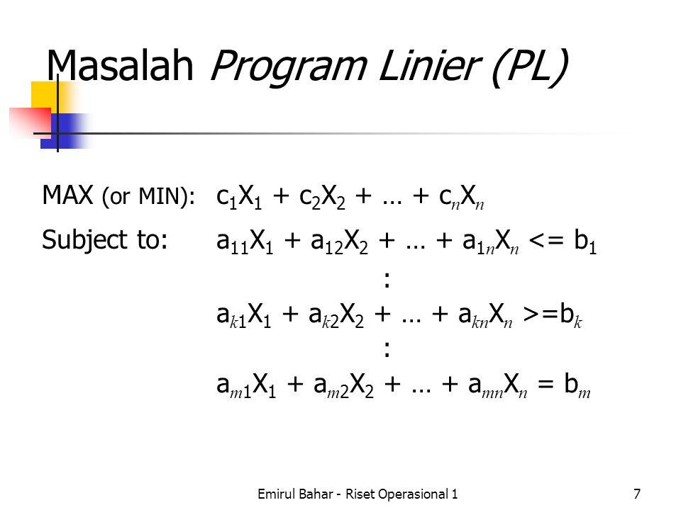 Emirul Bahar - Riset Operasional 17 Masalah Program Linier (PL) MAX (or MIN): c 1 X 1 + c 2 X 2 + … + c n X n Subject to:a 11 X 1 + a 12 X 2 + … + a 1 n X n <= b 1 : a k 1 X 1 + a k 2 X 2 + … + a kn X n >=b k : a m 1 X 1 + a m 2 X 2 + … + a mn X n = b m