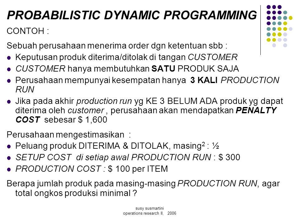 susy susmartini operations research II, 2006 PROBABILISTIC DYNAMIC PROGRAMMING CONTOH : Sebuah perusahaan menerima order dgn ketentuan sbb : Keputusan