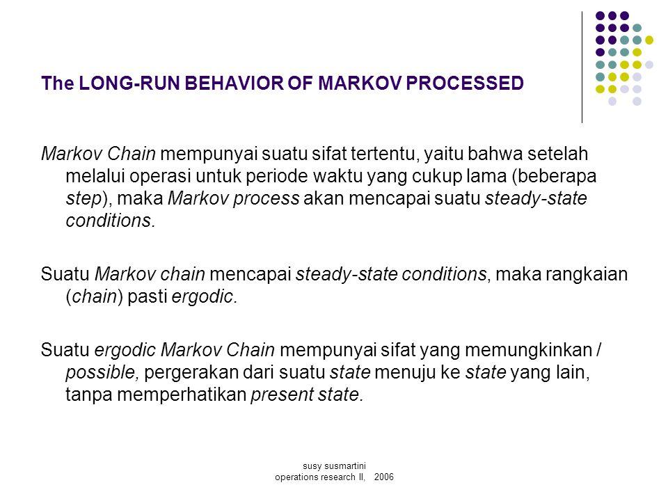 The LONG-RUN BEHAVIOR OF MARKOV PROCESSED Markov Chain mempunyai suatu sifat tertentu, yaitu bahwa setelah melalui operasi untuk periode waktu yang cu