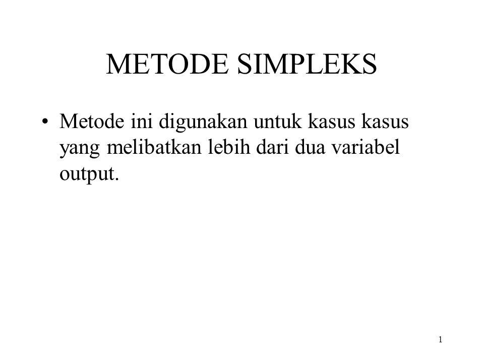 1 METODE SIMPLEKS Metode ini digunakan untuk kasus kasus yang melibatkan lebih dari dua variabel output.