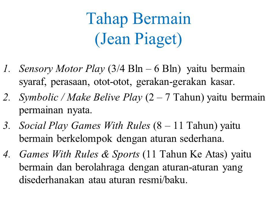 Tahap Bermain (Jean Piaget) 1.Sensory Motor Play (3/4 Bln – 6 Bln) yaitu bermain syaraf, perasaan, otot-otot, gerakan-gerakan kasar. 2.Symbolic / Make