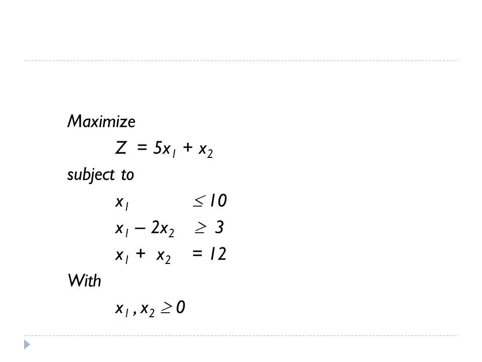 Maximize Z = 5x 1 + x 2 subject to x 1  10 x 1 – 2x 2  3 x 1 + x 2 = 12 With x 1, x 2  0