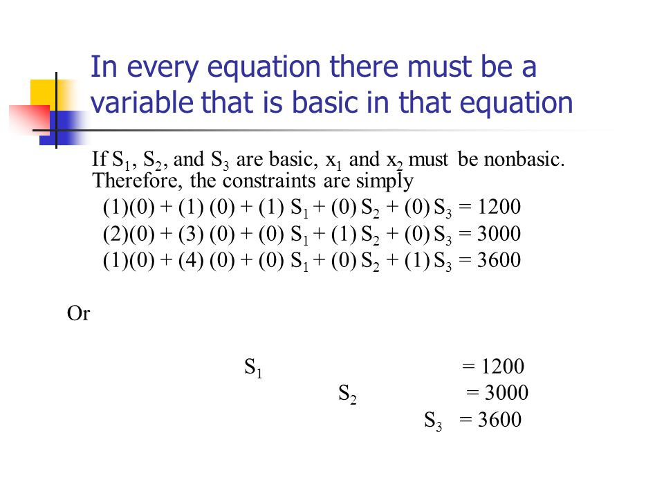 In every equation there must be a variable that is basic in that equation If S 1, S 2, and S 3 are basic, x 1 and x 2 must be nonbasic.