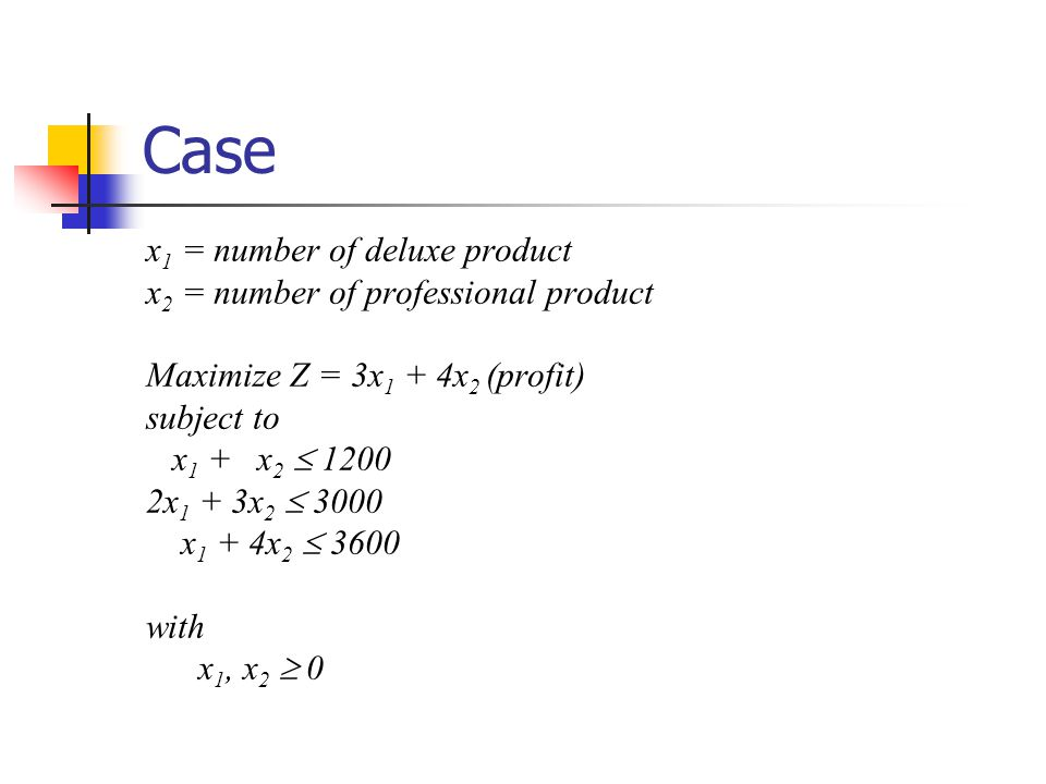 Case x 1 = number of deluxe product x 2 = number of professional product Maximize Z = 3x 1 + 4x 2 (profit) subject to x 1 + x 2  1200 2x 1 + 3x 2  3000 x 1 + 4x 2  3600 with x 1, x 2  0
