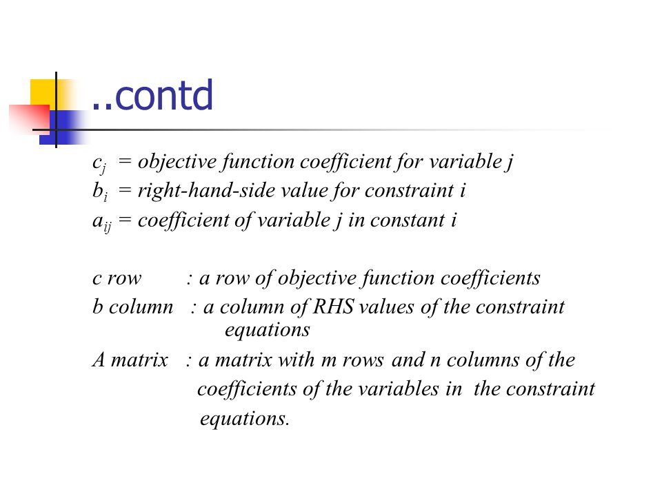..contd c j = objective function coefficient for variable j b i = right-hand-side value for constraint i a ij = coefficient of variable j in constant i c row : a row of objective function coefficients b column : a column of RHS values of the constraint equations A matrix : a matrix with m rows and n columns of the coefficients of the variables in the constraint equations.