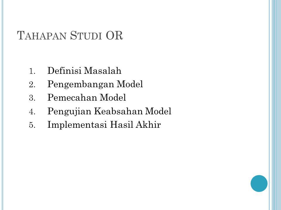 T AHAPAN S TUDI OR 1. Definisi Masalah 2. Pengembangan Model 3.