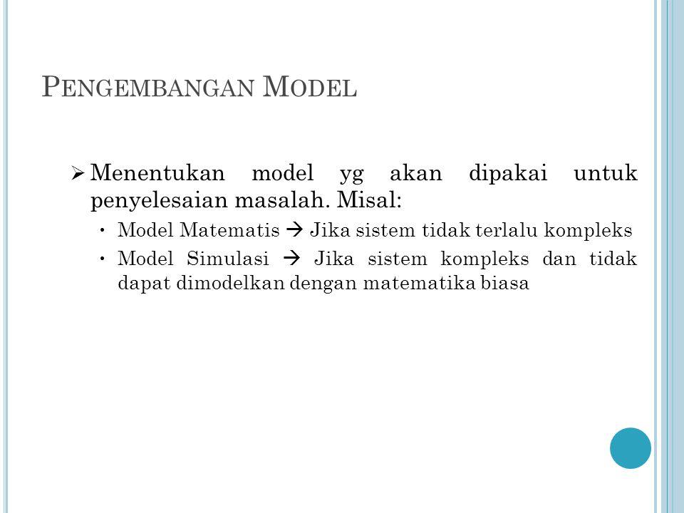 P ENGEMBANGAN M ODEL  Menentukan model yg akan dipakai untuk penyelesaian masalah.
