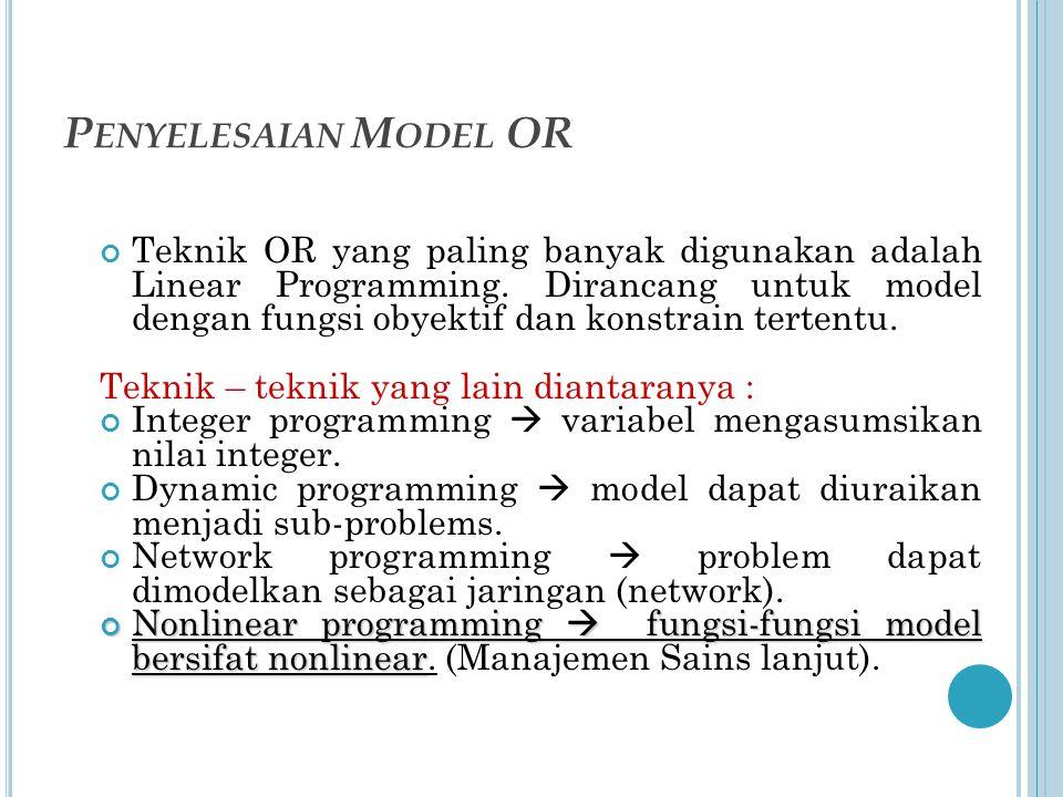 P ENYELESAIAN M ODEL OR Teknik OR yang paling banyak digunakan adalah Linear Programming.